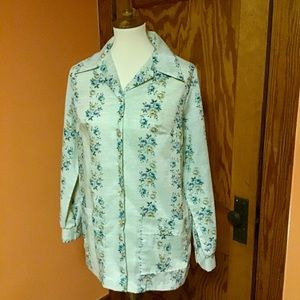 Vintage 70s floral stripes big collar shirt